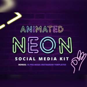 A1 Social Media Animated Neon Templates - Boost your social media presence and grab attention with this flashy neon type kit that is fast and easy to use.
