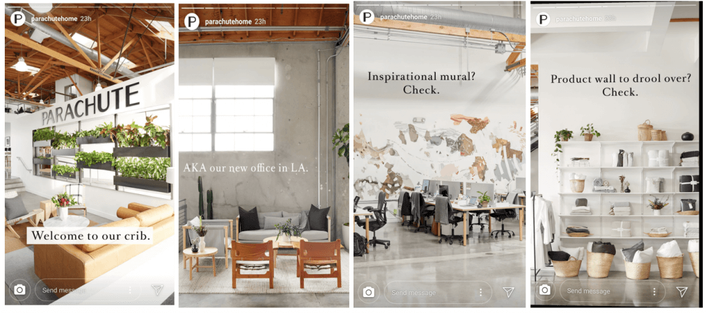 Parachute used Instagram Stories to promote their new L.A. office location.