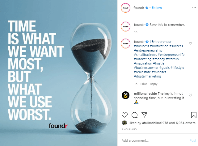 Image of @Foundr post with an effective Instagram Caption