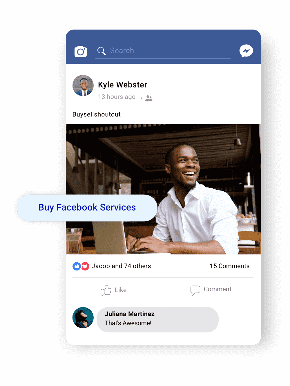 image of kyle webster who is happy with the facebook services received from buysellshoutouts.com