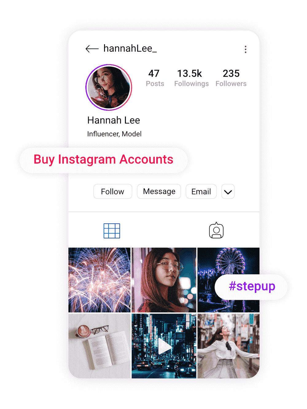 image of hannah lee who is happy with her new instagram account she purchased from buysellshoutouts.com