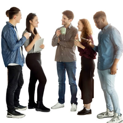 image of 5 young men and women talking about social media